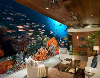 custom 3d wallpaper Colorful coral fish living room sofa backdrop custom 3d photo wallpaper 3d wallpaper for room Обои