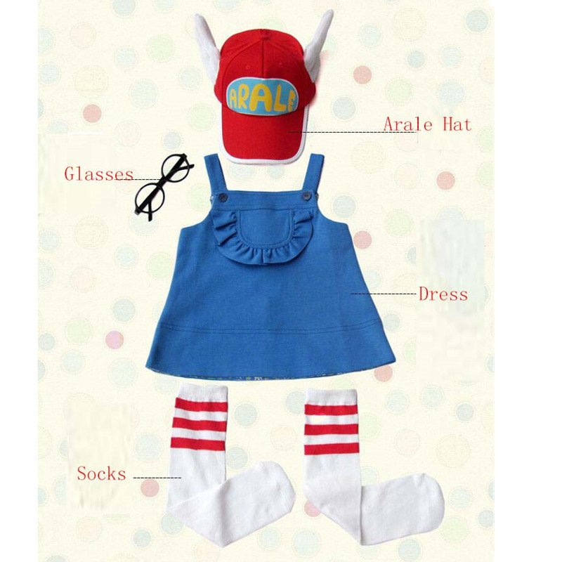 Ainiel 5 Pieces 1 Set Anime Dr.Slump Arale Cosplay Costume Kids Dress/Hat/Glasses/Socks/T Shirt  Fancy Dress Girl
