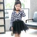 Princesa vestido de la muchacha ropa para niños de 2-6 T ropa de las muchachas niños vestidos de otoño a cuadros de manga larga estilo tutu vestido N38271