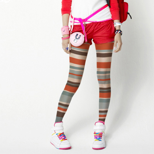 Women Colored Striped Fashion Tights Pantyhose Stockings