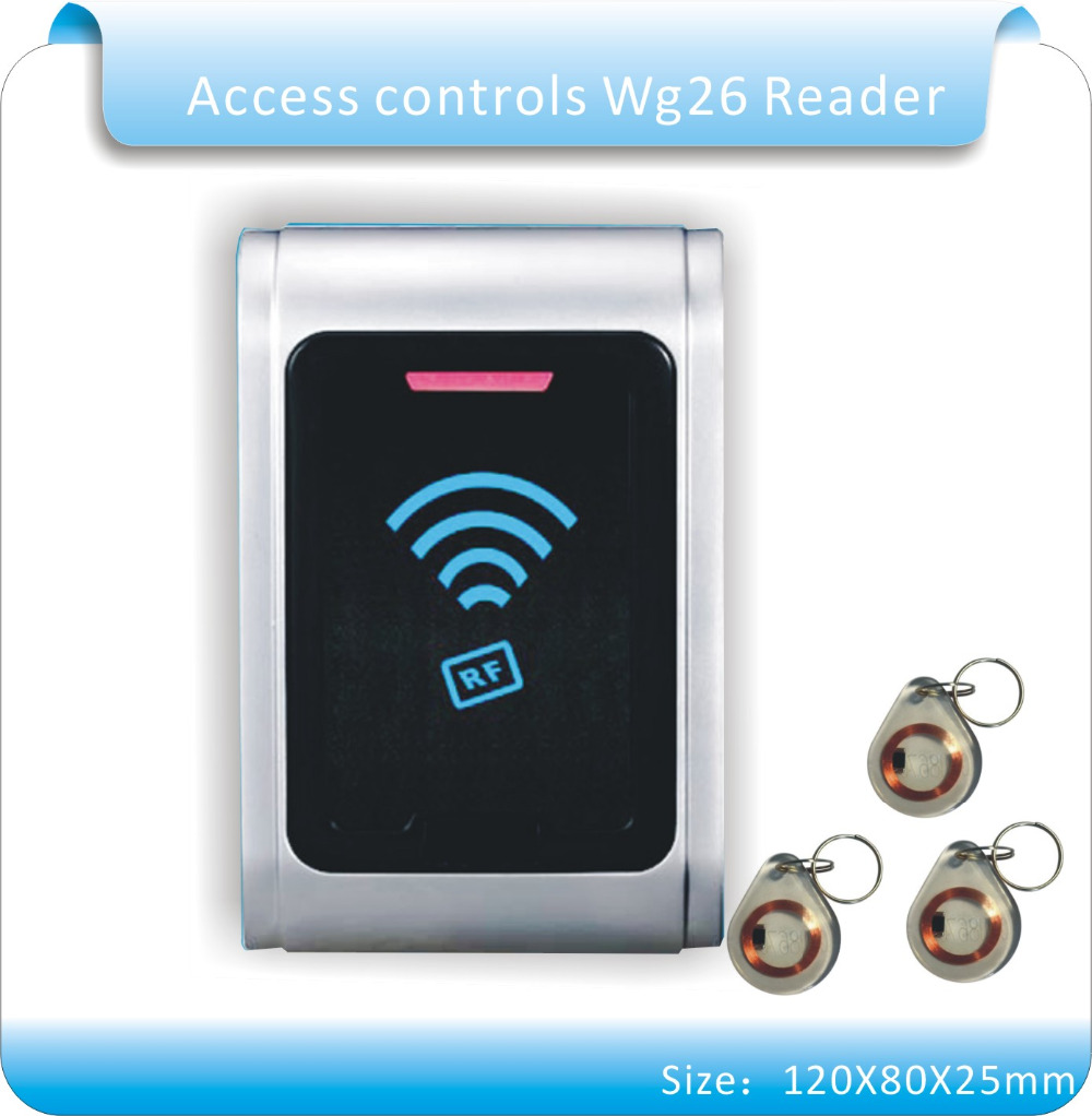Free shipping waterproof Metal shell 125KHZ RFID Access Control Card Reader with WG26 port+5pcs crystal keyfobs 10 pcs waterproof card reader for rfid tivdio 125khz low working temperature access control with wg26 home security f1691a