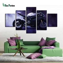 Framework Decoration Modern Painting Print Style Wall Modular HD Picture For Living Room 5 Pieces/Set Cool Motorcross Art Canvas