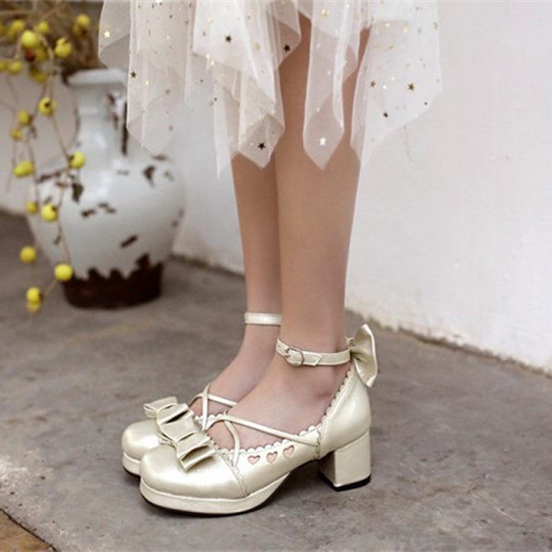 Big Size 30-48 Women Pumps Japanese Princess Lolita Shoes Sweet Bow Cross Straps High Heels Mary Janes COSPLAY Female Shoes Gold (3)
