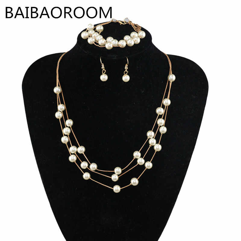 Imitation Pearls Jewelry Necklace Sets Multilayer Simulated-pearl Necklace/Bracelet/Earrings Gold-color Accessory Sets