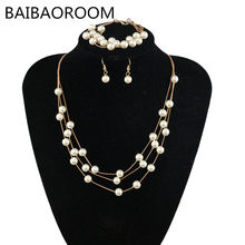 Imitation Pearls Jewelry Necklace Sets Multilayer Simulated-pearl Necklace/Bracelet/Earrings Gold-color Accessory Sets(China)