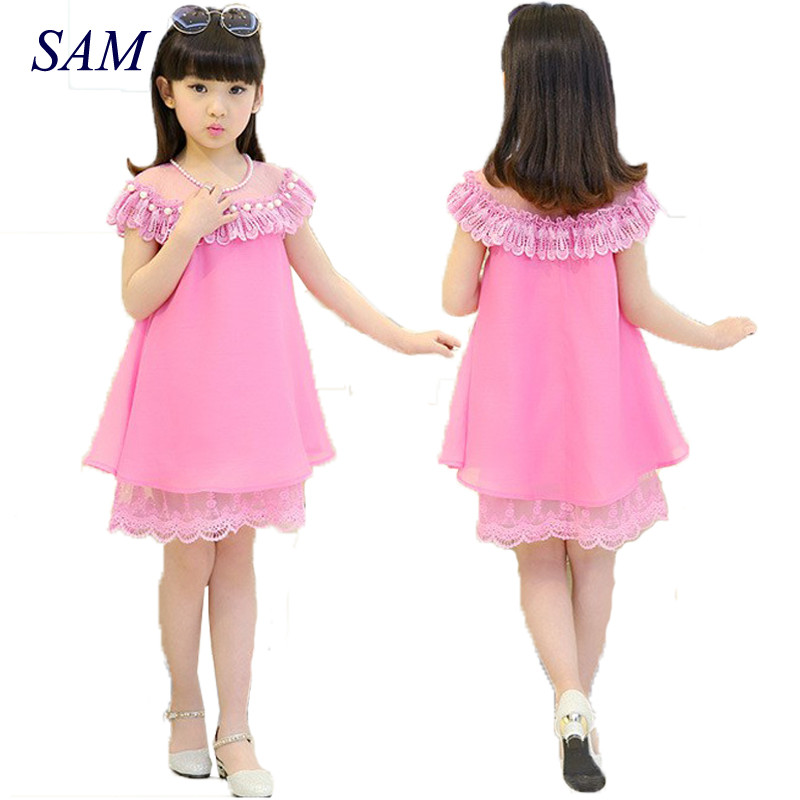 2018 New Summer Costume Girls Princess Dress Children's Evening Clothing Kids Chiffon Lace Dresses Baby Girl Party Pearl Dress summer girls evening dress 2016 children costume clothes kids chiffon princess dresses baby girl party dress with pearl necklace