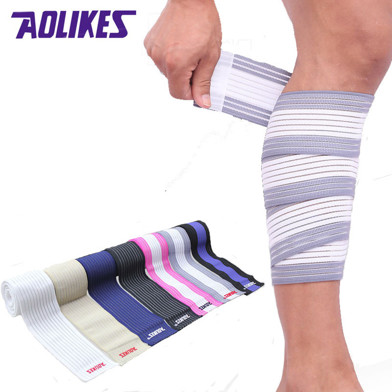 AOLIKES 2 Pcs 90*7.5cm Elastic Bandage Tape Sport Knee Support Strap Shin Guard Compression Protector For Ankle Leg Wrist Wrap