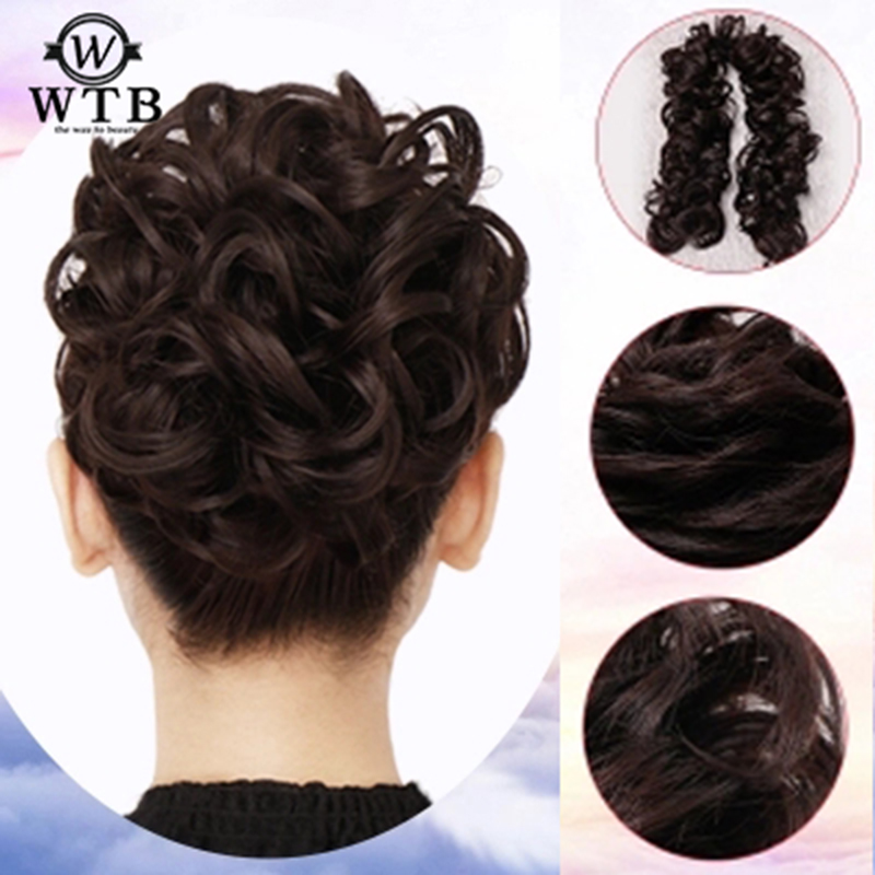 WTB  Women Headwear Synthetic Hair Chignon Elastic Hair Bun Extension Curly Scrunchie Ladies Twining Wig
