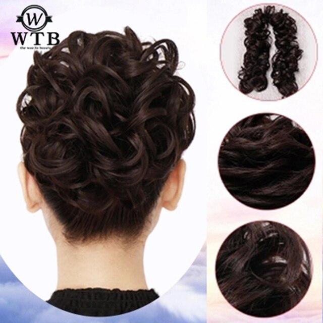WTB mujeres ropa de cabeza pelo sintético Chignon Pelo elástico extensión del bollo rizado scrunch señoras tiwing peluca