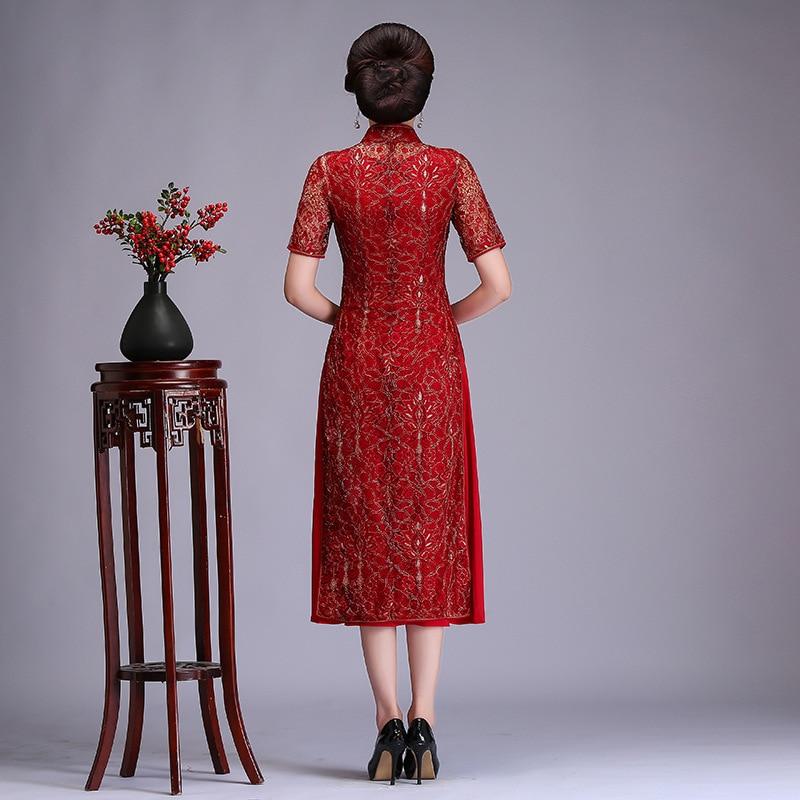 Femelle Plus Vietnam Aodai Fleur Chinoise Mince Robe 3xl Taille Dentelle Qipao Rouge Red Broderie Cheongsam Robes Traditionnelle M Élégante Bq6wrBp