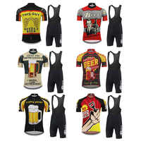 Beer cycling jersey set men short sleeve Cycling clothing bicycle wear jersey set bib shorts 9D Gel Pad mtb ciclismo 6 style
