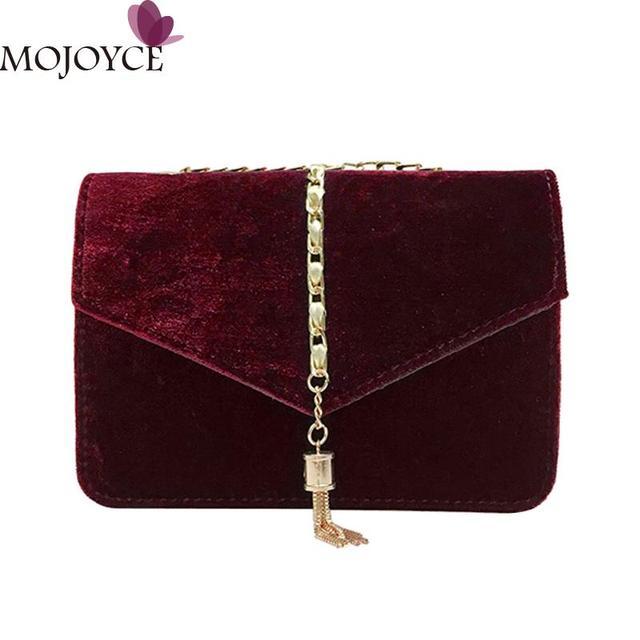 Retro Gold Velvet Crossbody Bag Women Elegant Long Chain Shoulder Bag  Autumn Winter Messenger Bags Female c3e1665f45776