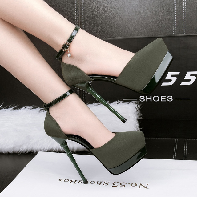 173597e8006 US $26.69 |Women shoes 2018 new spring summer High heels wedding air black  pump top sexy mature lady non slip wearproof Hollow out-in Women's Pumps ...