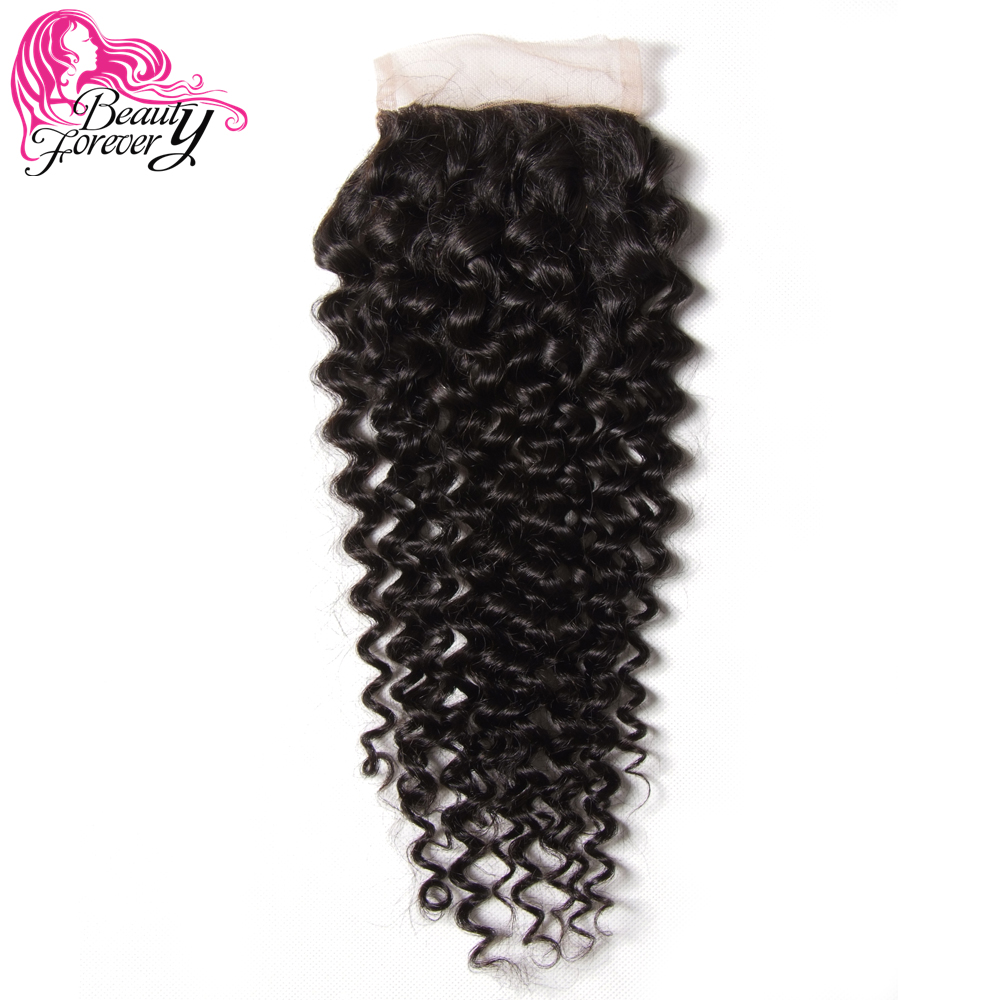 Beauty Forever Curly Lace Closure Brazilian Hair 100 Remy Human Hair 4 4 Free Part 120