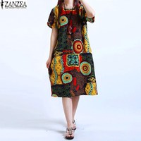 M 5XL ZANZEA NEW Womens O Neck Floral Print Short Sleeve Casual Cotton Linen Knee Length