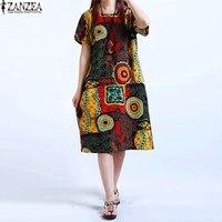 M-5XL ZANZEA NEW Womens O Cổ Hoa In Short Sleeve Cotton Linen Casual Knee Length Dress Baggy Boho Áo Kaftan Cộng Với Kích Thước