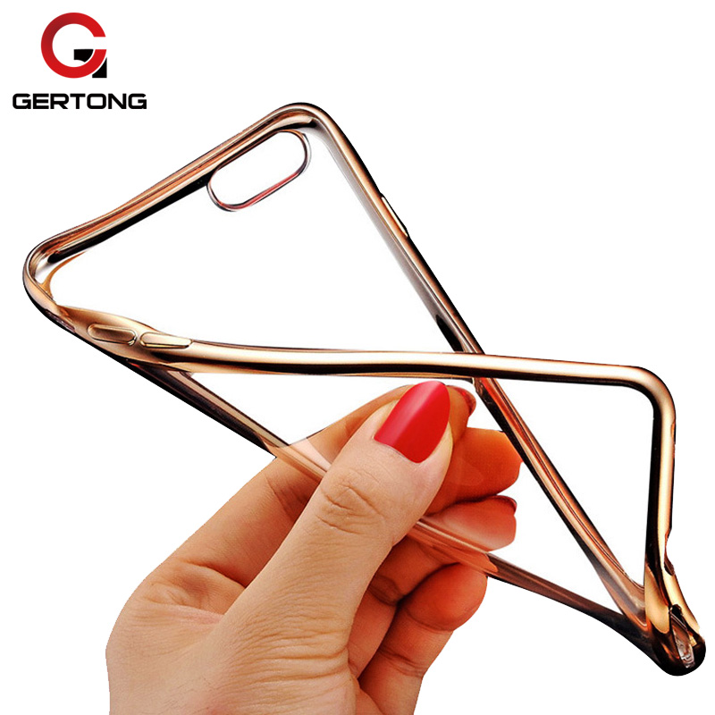 GerTong Plating Shinning TPU Case For iPhone 7 6 S Case X 8 6S Plus 5S SE 5 S Phone Cover Clear Thin Cases For iPhone 7