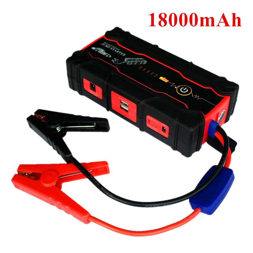 Super Power 18000mAh Car Jump Starter Power Bank Car Charger For Car Battery Booster Buster 12V Petrol Diesel Starting Device 2017 30000mah 12vportable car jump booster led charger emergency start power bank new