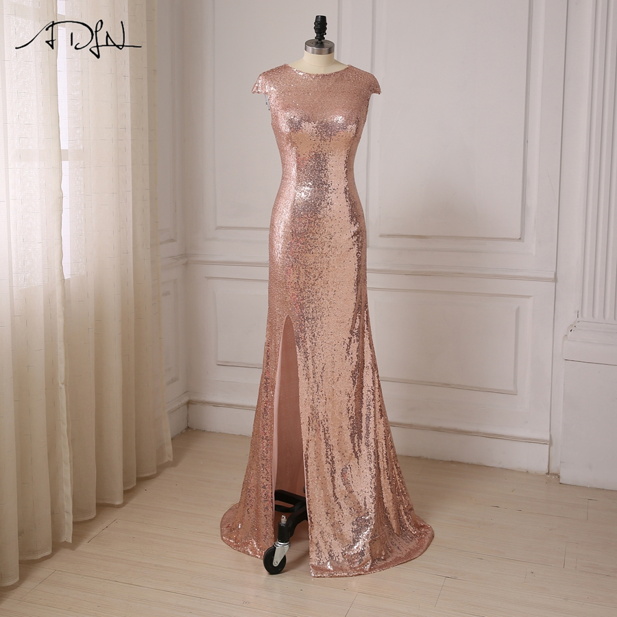 ADLN Cheap Rose Gold Sequin Prom Dresses O neck Slim Slit Mermaid Evening Party Dress Floor