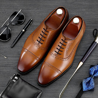 RUIMOSI Luxury Brand Man Semi Brogue Shoes Hot Sales Genuine Leather Dress Oxfords Pointed Toe Formal