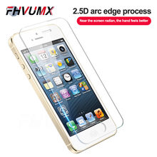 FHVUMX Ultra-thin Full Cover Tempered Glass For Apple iPhone 4S 5S 5C SE Anti-Burst Screen Protector Glass For iPhone 4 5 S Film(China)