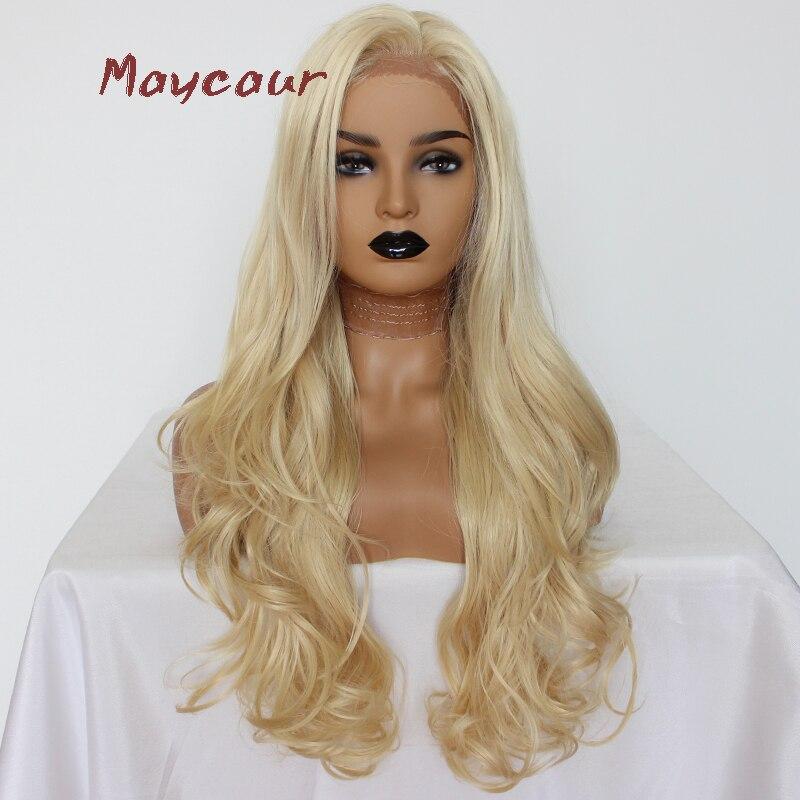 #613 Farbe Lange Wellenförmige Synthetische Spitze Front Perücke Hitze Beständig Blonde Haar Perücken Für Frauen 180 Dichte Zu Den Ersten äHnlichen Produkten ZäHlen