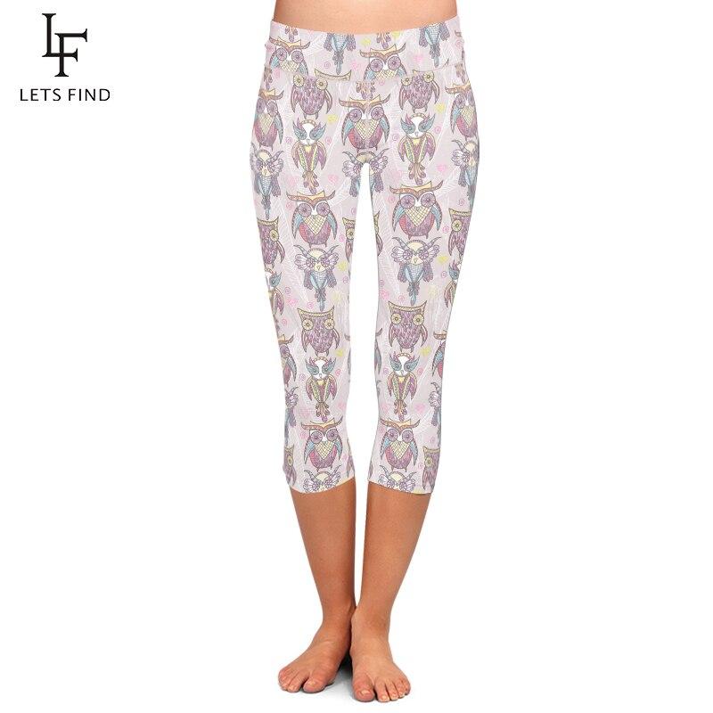LETSFIND Summer Hot Sales Women High Waist Capri Leggings Animals Cartoon Owl Printing Mid-Calf 3/4 Trousers Movement Leggins