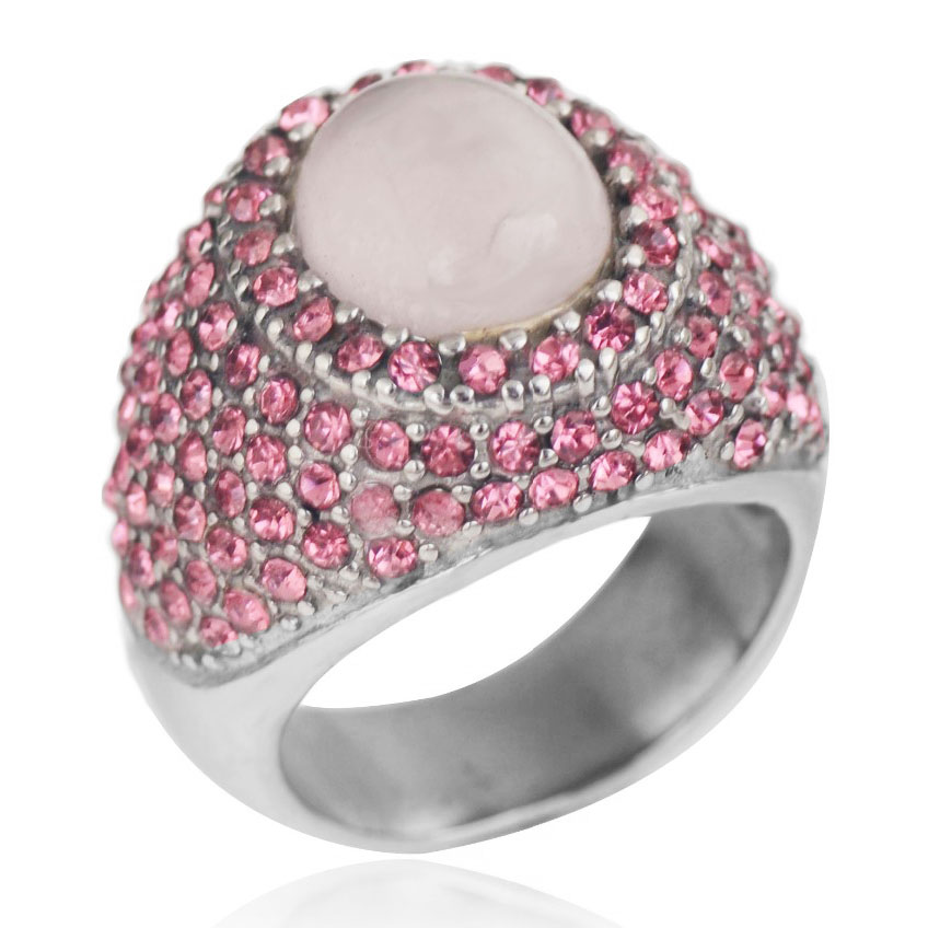 Vintage stainless steel jewelry Pink quartz and Pink crystals Princess Diana Engagement Ring for Women