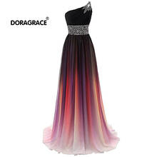 Doragrace Elegant A Line Floor-Length One-Shoulder Chiffon Beaded Evening Dresses Long Prom Gowns