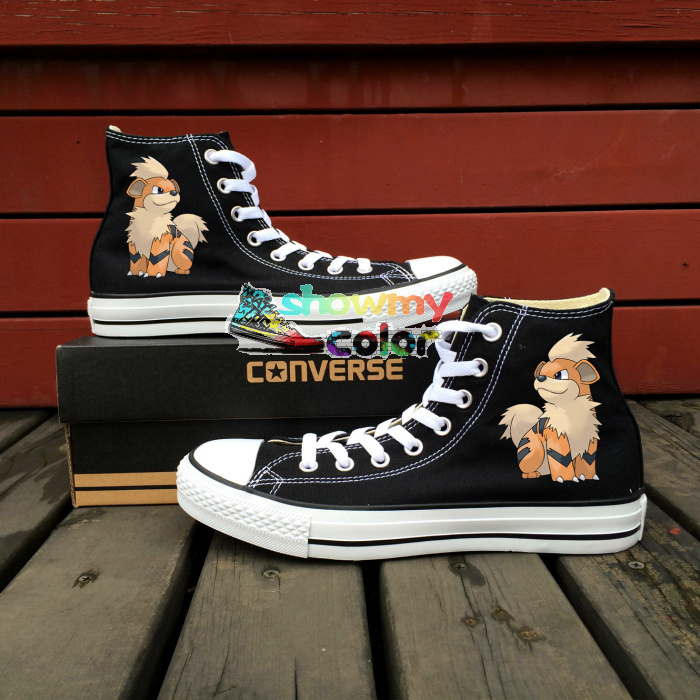 Prix pour Converse All Star Peint À La Main Chaussures Hommes Femmes Chaussures Pokemon Aller Growlithe Chien Espadrilles Design Personnalisé
