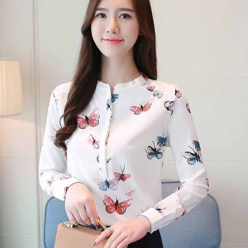 Blanco 40 Blusa Camisas Impresión Oficina De Soporte La Las floral 2019 1042 Mujeres Manga Blusas Larga Moda Mujer Plus Butterfly Tamaño Zxq1XUwS7U