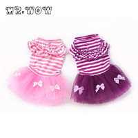 New Dog Dress Puppy Stripe Bow Lace Tutu Dress Skirt Small Dog Clothes Dog Coat Hot