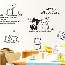 DIY Cartoon Lovely Baby Cat Refrigerator Wall Sticker Romantic Love Home Decal Kids Rooms Wall Decor Nursery Wallpaper Murals