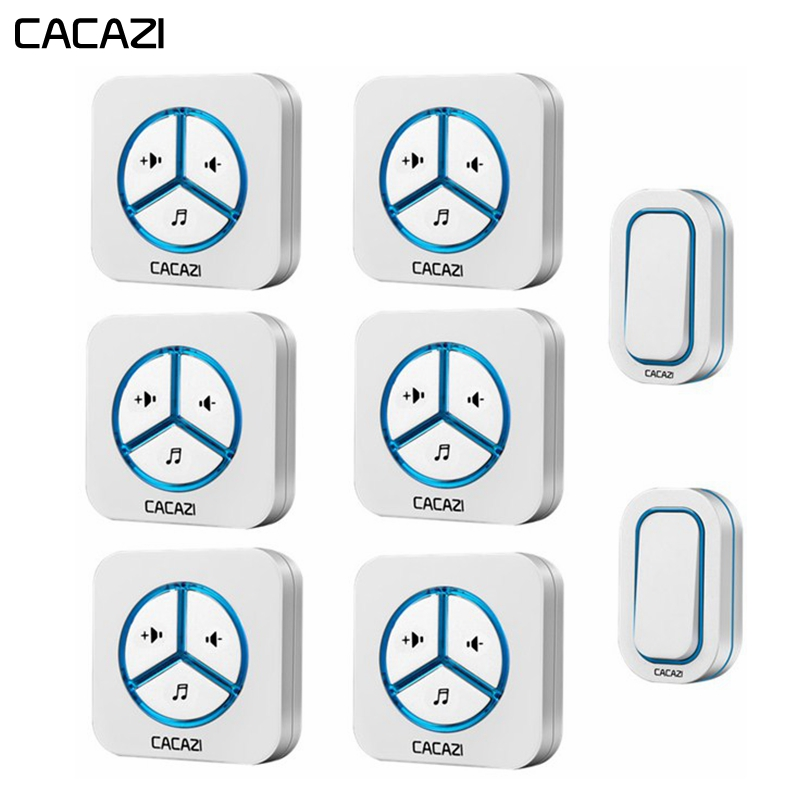CACAZI Waterproof Wireless Doorbell 2 Battery Button 6 receiver 48 chime 280M Remoto US EU UK Plug Smart Home Cordless door bellCACAZI Waterproof Wireless Doorbell 2 Battery Button 6 receiver 48 chime 280M Remoto US EU UK Plug Smart Home Cordless door bell