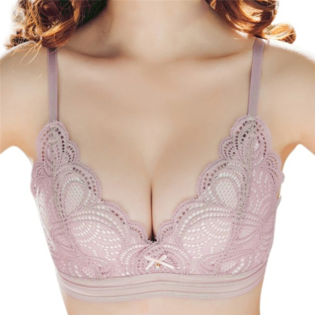 3f423c72e6 Embroidery Bra Women Lace Lingerie Super Push Up Bra Wire Free Pink Black  Bralette Padded One Piece Seamless Bras Sexy