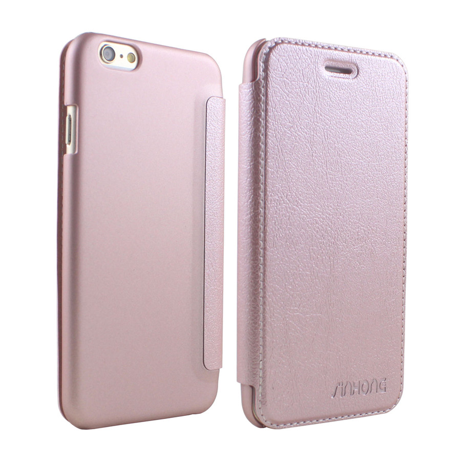 Luxury Credit Card Holder Leather Case For iPhone 6 6S Full Body Coverage Flip Cover Slim With Frosted Housing Anti Fingerprint