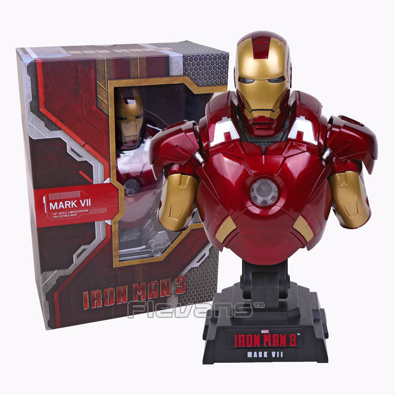 все цены на Iron Man 3 MARK VII 1/4 Scale Limited Edition Collectible Bust Figure Model Toy with LED Light 23cm онлайн
