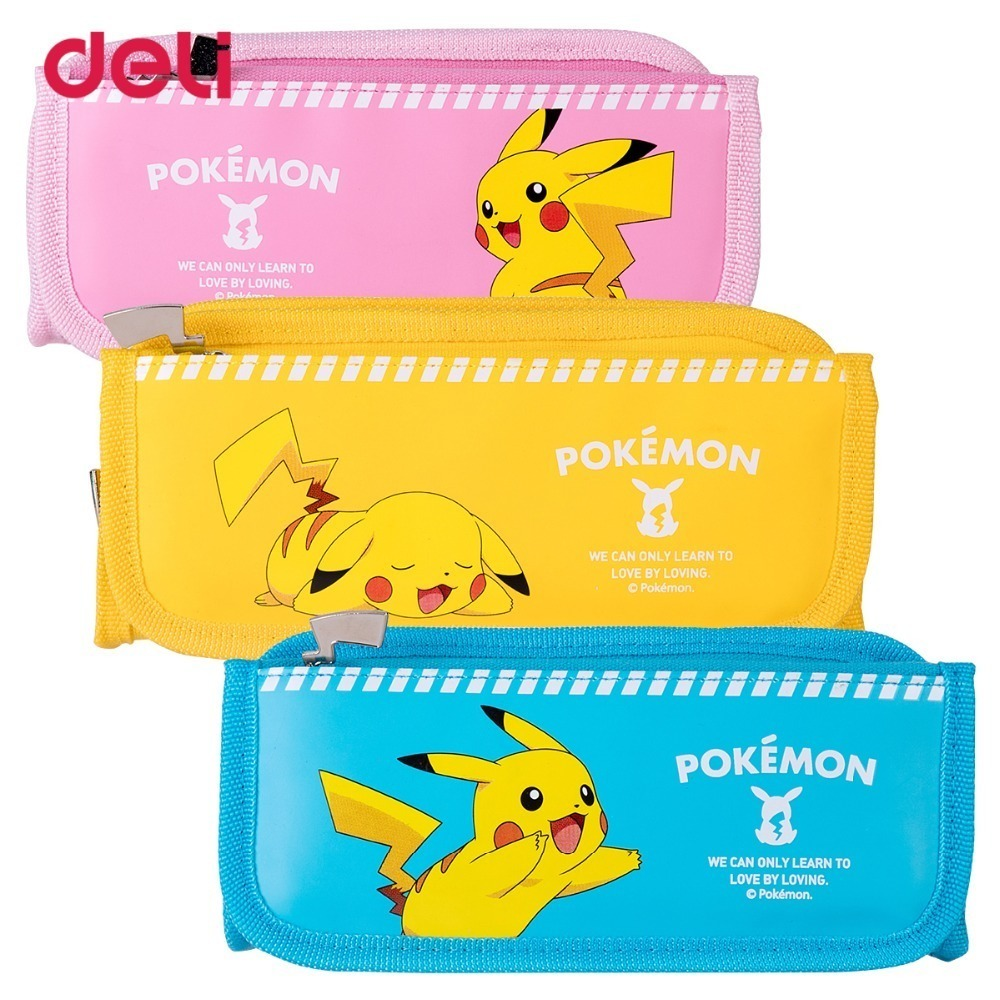Large Capacity Zipper Pencil Case Stationery Supplies Student Cartoon Pikachu Chancellery Pencil Box pencil case color simple love excellent pencil box creative student pencil case large capacity stationery storage box