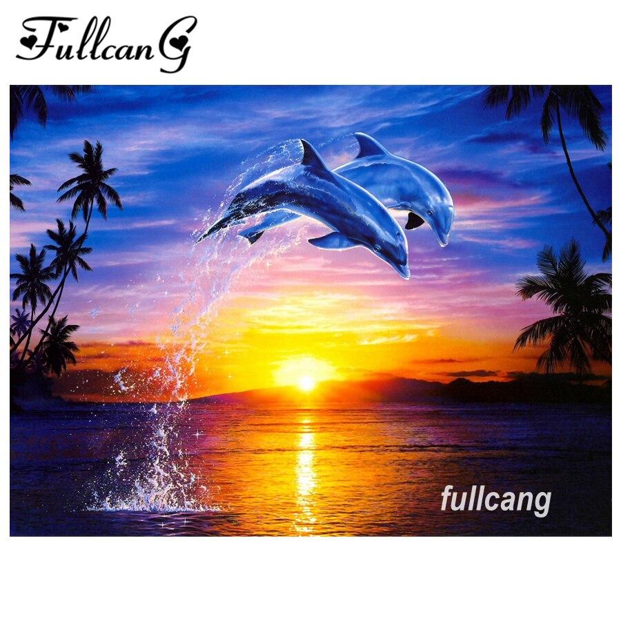 vägg dekoration konst 5D diy diamant måleri delfiner simma - Konst, hantverk och sömnad - Foto 1
