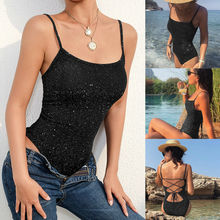 Summer Women Shiny One Piece Swimwear Backless Bathing Suits Bodysuit Monokini Swimsuit Black