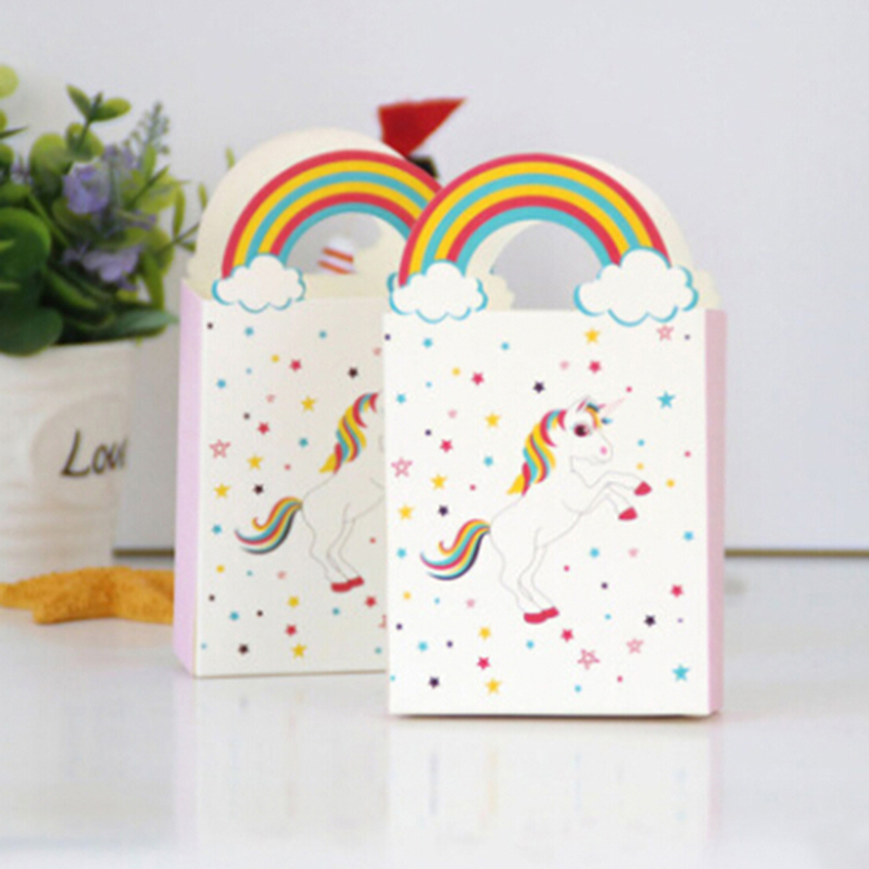 Gift-Bags Paper-Bag Candy-Boxes Unicorn Rainbow-Handles Cookie Party-Decoration Birthday