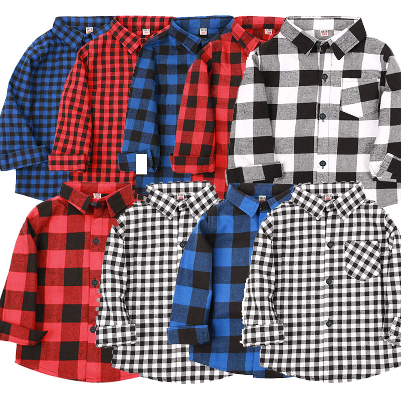 Baby Boys Cotton Plaid Shirts Autumn and Spring Fashion Baby boys Long Sleeve tops England Style boys shirt Kids Clothes 2018 new arrival boy suits england style boys blazer long sleeve plaid for kids clothes