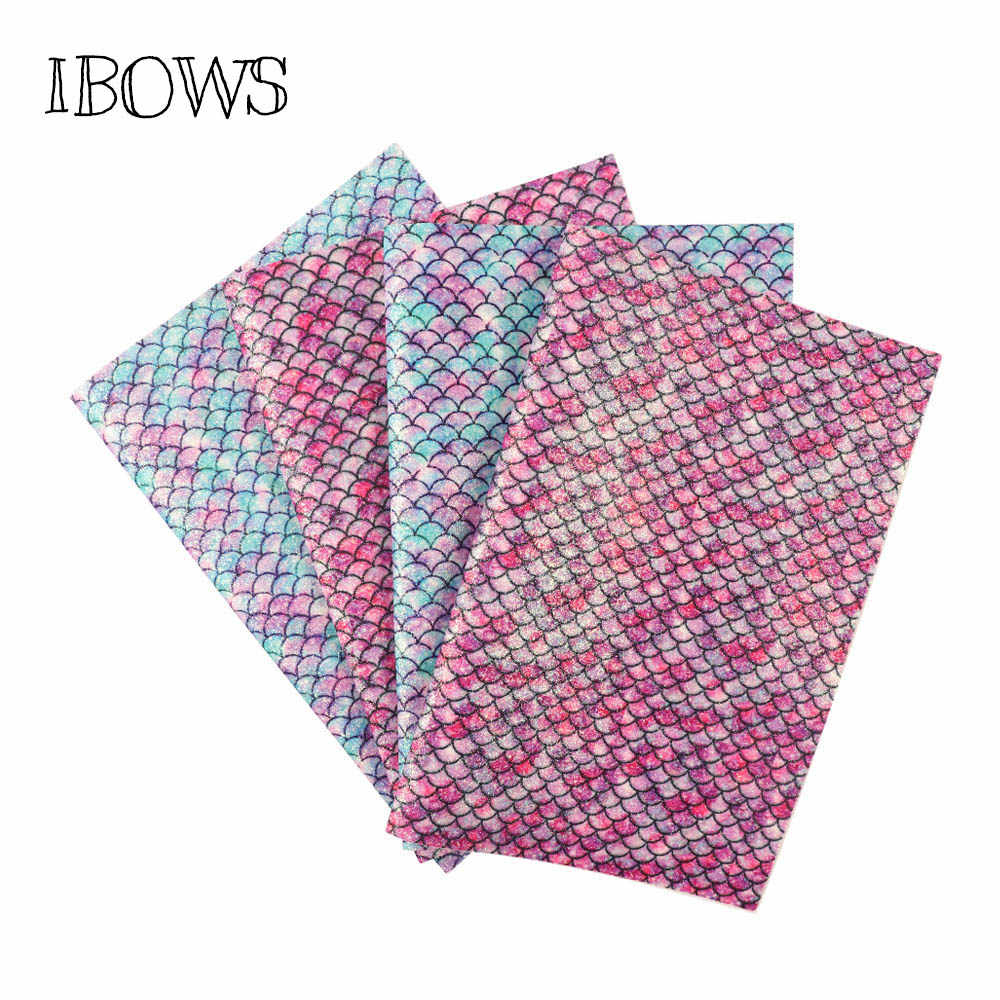 IBOWS 22*30CM Mermaid Glitter Fabric Printed PU Patchwork DIY Bag Shoes Fabric Handmade Phone Case Material Party Decoration