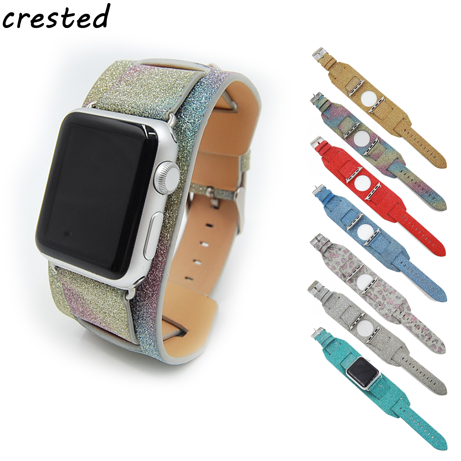 CRESTED leather loop watch strap for apple watch band 42mm/38 Cuff Bracelet for iwatch 1/2 band link Bracelet  flash bracelet crested leather loop band for apple watch 42mm 38mm