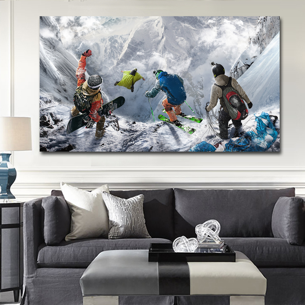 Winter mountain extreme skiing snowboarding sports steep for Snowboard decor