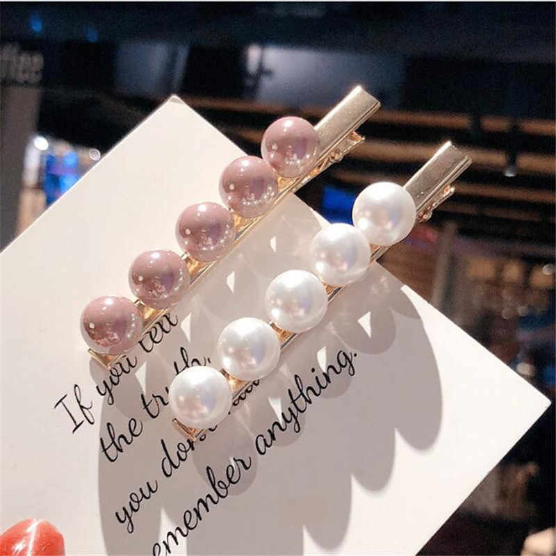 2019 Fashion Imitiation Pearl Hair Clip Barrettes for Women Girls Handmade Pearl Flowers Hairpins Hair Accessories