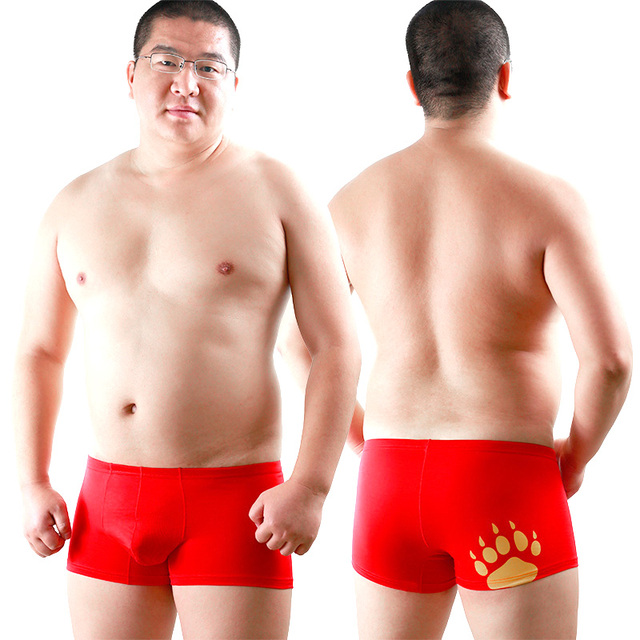 2015 New Bear Claw Plus Size Men's Modal Shorts Gay Bear Underwear Cotton Boxers Designed For Bear Red Free Shipping! M L XL XXL