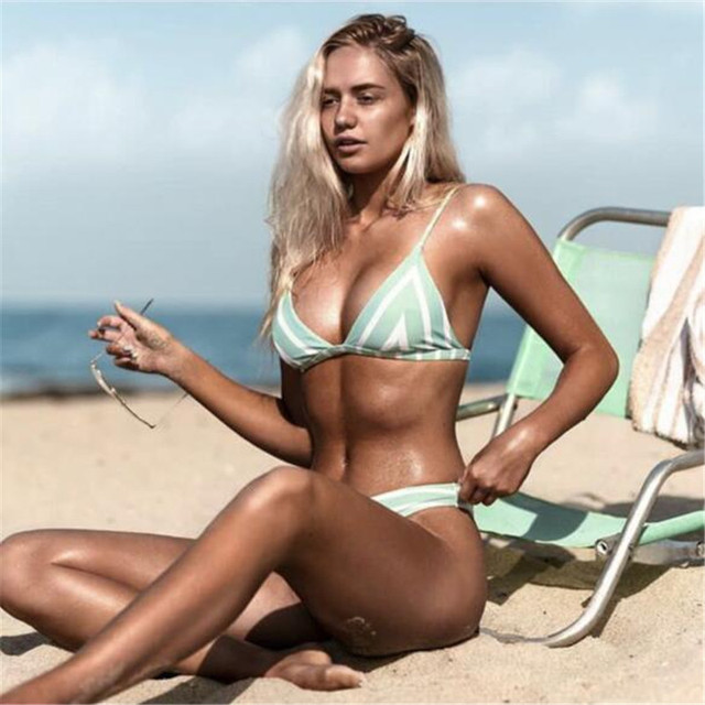 2018 sexy bikini set swim suite triangle shoulder strap INS hot printing orange blue green High Waist Push Up Bathing Suit Mayo 2