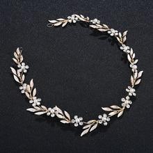 Ladies Simple alloy leaf headband hair band Wedding Bridal Leaves Hair Vine Headband Crystal Decor Crown Headdress