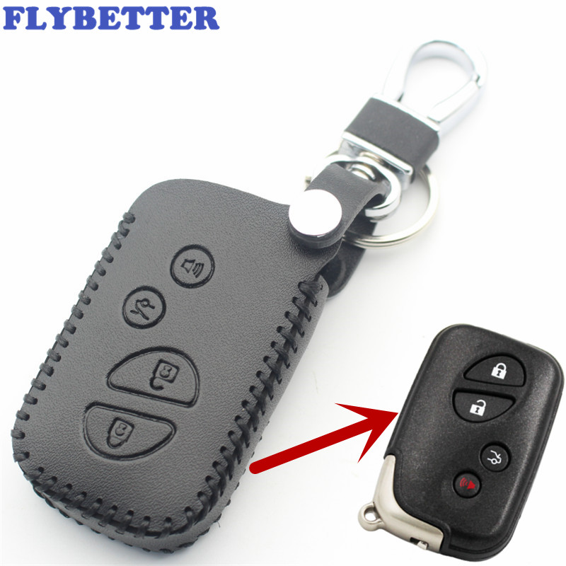 FLYBETTER Genuine Leather 4Button Smart Key Case Cover For Lexus LX470/GS450h/IS350/SC430/LS460/ES350/GS350 Car Styling L37